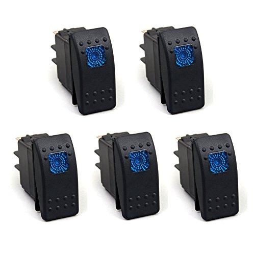 XT AUTO 20 Amp Car Marine Blue LED Toggle Switch Dash Rocker Switch 4pin 5-pack (Dash Marine)