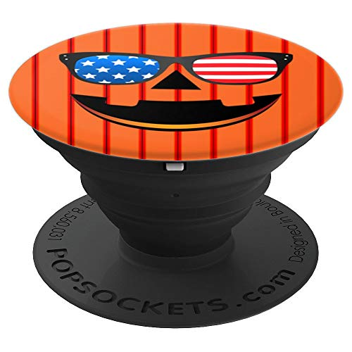 Jack-o-Lantern American Flag Sunglasses Pumpkin Art Gift - PopSockets Grip and Stand for Phones and Tablets ()