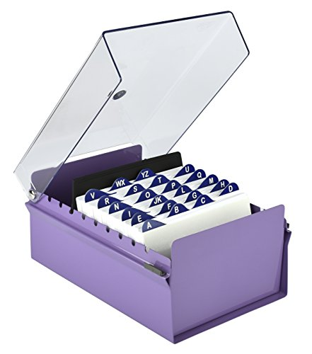 Drawer Four Oxford File (Acrimet 4 X 6 Card File Holder (Purple Color with Crystal Cover))