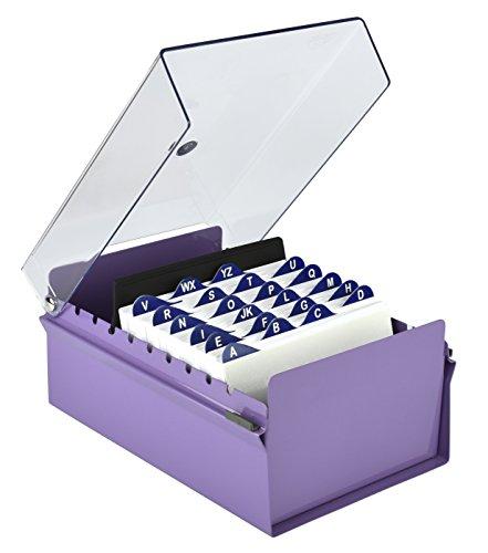 Acrimet 4 X 6 Card File Holder Organizer Metal Base Heavy Duty (Purple Color with Crystal Plastic Lid - Card Plastic Divider