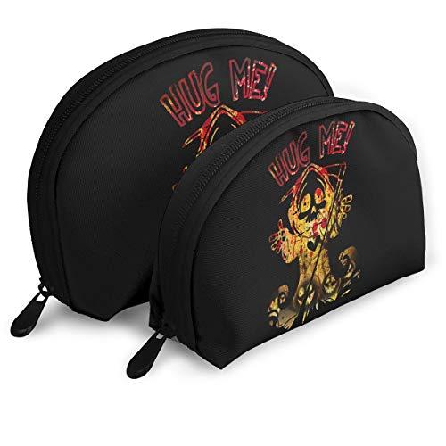 Grim Reaper Hug Me Halloween Women Holder Shell Cosmetic Pouch Storage Bag Toiletry Organizer -