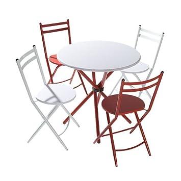 Conjunto de Cocina Mesa Redonda 80cm Blanco y Rojo sillas ...