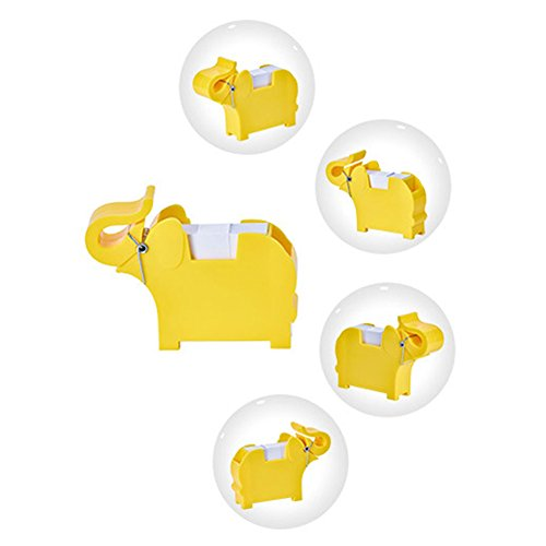 Lzttyee Animal Shape Multi-functional Plastic Memo Holder/Note Dispenser/Desktop Note Pad/Pen Holder with 200 Sheets Memo Pad for Office School Supplies (Elephant Yellow) by Lzttyee (Image #2)
