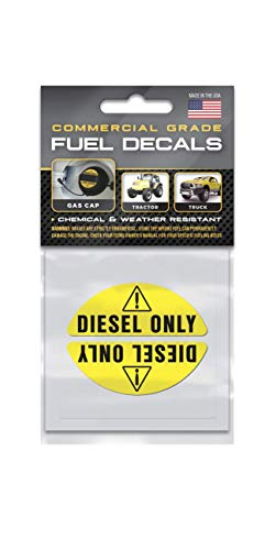 Diesel Stickers and Decals for Gas Caps - Super-Strong Adhesive and Weather-Resistant - Commercial Grade for Truck, Tractor, Farm Equipment and Machinery - Ultra Durable - Diesel Only Labels