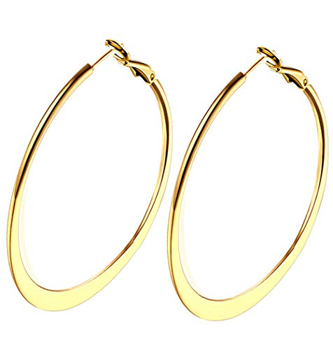 - Lastest Medium Hoops Earrings Design, Gold Plated Flattened Hoop Earrings for Women Girls Sensitive Ears