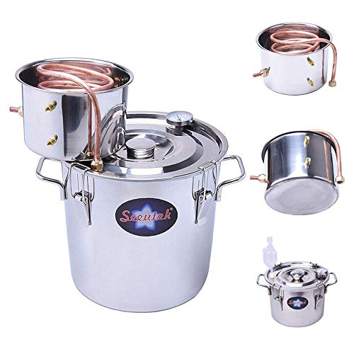 Seeutek 5 Gallon 18 Litres Home Alcohol Water Distiller Copper Moonshine Still Kit Stainless Steel Spirits Boiler, 5Gal, Silver