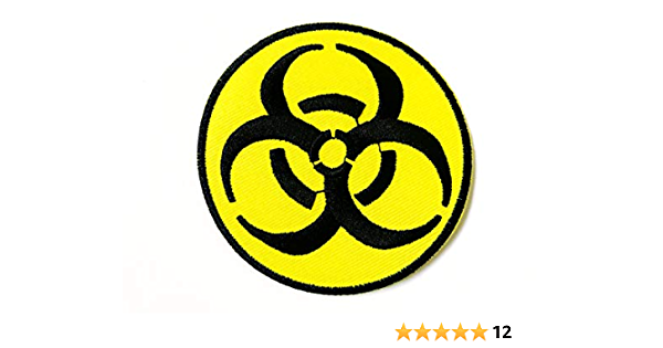 SEW-ON TOXIC WARNING DANGER APPLIQUE BIOHAZARD SYMBOL EMBROIDERED PATCH IRON