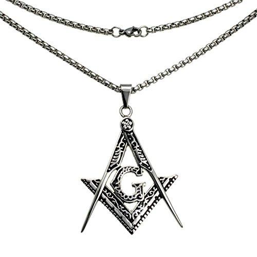 Ahappy-Gold filled sculpture Freemasonry Masonic Mason Pendant chain necklace 19.68