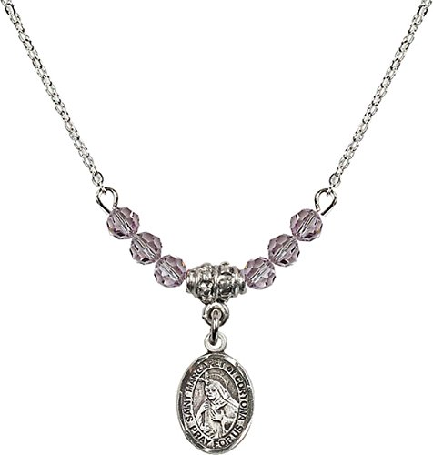 (June Birth Month Bead Necklace with Saint Margaret of Cortona Petite Charm, 18 Inch)