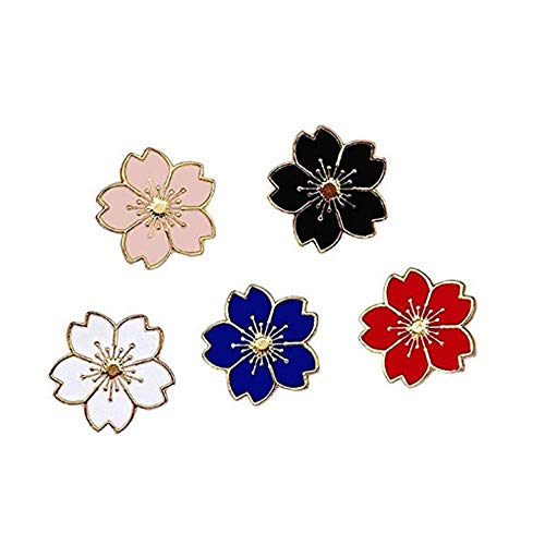 Enamel Flower Pin - TULIP LY Flower Brooch Pin 5pcs Novelty Brooch Sakura Series Pattern Enamel Lapel Pins Cute Set Badges for Women Girls Clothes Bags Decor