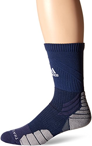 adidas Traxion Menace Basketball/Football Crew Socks (1-Pack), Collegiate Navy/White/Light Onix/Onix, - Collegiate Navy Blue Football