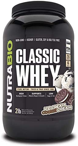NutraBio Classic Whey Protein – 2 Pounds Ice Cream Cookie Dream