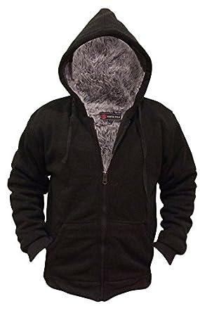 Amazon.com: Mens Faux Fur Lined Hoodie Sweatshirt Sweater,Black,M ...