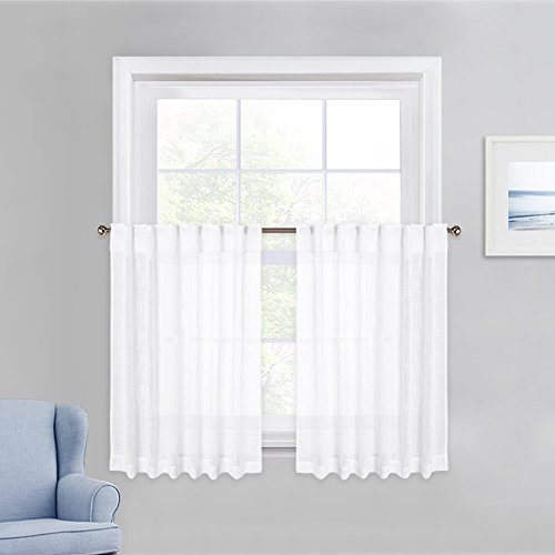 (PONY DANCE White Sheer Tier - Linen Look Semi-Transparent Voile Valance Casual Rod Pocket & Back Tab Short Curtains Drapes for Small Windows Cafe, 52