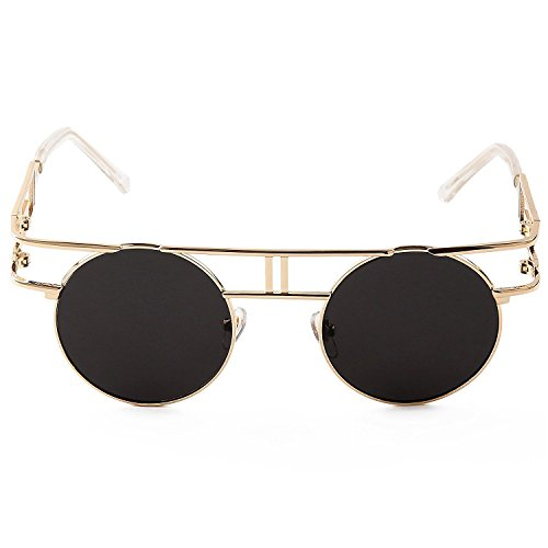 Oro Libre al góticas Gris Gafas Sunglasses aire Marco Lente de Steampunk de sol Hombre Reflectoras wqp1Z70