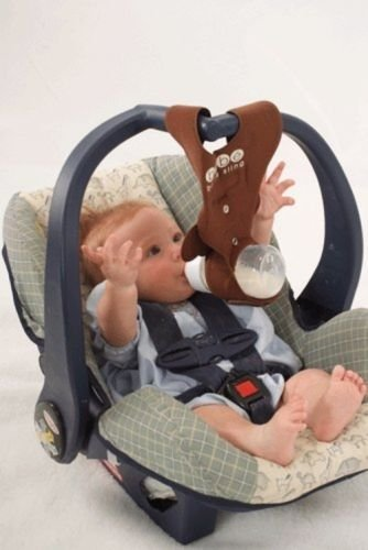 Nice Bebe Bottle Sling Baby Holder Hands Free Car Seat NEW Brown Monkey