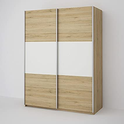 Ideal Seattle 2 Door Oak Sliding Wardrobe - Oak & White 150CM Wide Bedroom  Furniture Storage Solutions W 150cm x D 60cm x H 195cm