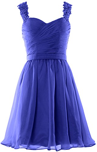 MACloth Women Lace Straps Chiffon Short Prom Homecoming Dress Formal party Gown Azul Real
