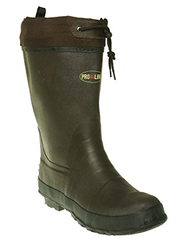 Pro Line Men's Rubber Pac Boot Waterproof Boots Chocolate Brown 10 M US ()