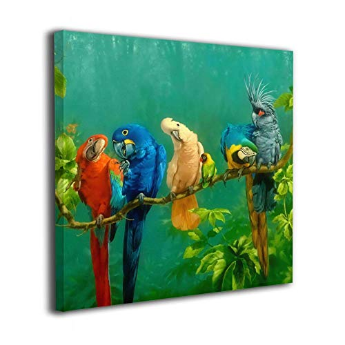 "Warm-Tone Art Colorful Parrot Birds On The Tree Canvas Prints Wall Art Oil Paintings For Living Room Dinning Room Bedroom Home Office Modern Wall Decor 12""x12"""
