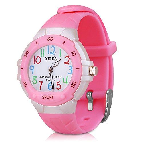 116 Kids Watch 30M Waterproof ,Children Cartoon Wristwatch Child Silicone Wrist Watches Gift for Boys Girls Little Child – PerSuper (Pink)