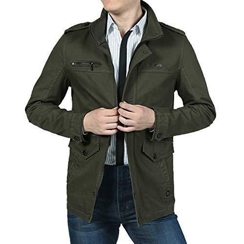 Casual Automne Army Hiver Manadlian Slim Long Homme Trench Chaude homme Vert Col Zippé Veste Manteau Montant Jacket Fit 6WRwF6fqC