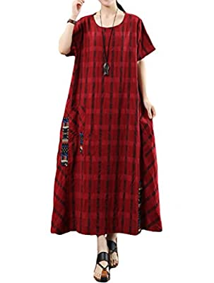 Mordenmiss Women's Linen Classic Plaid Short Sleeve Shirt Dress with Pockets