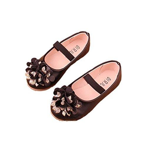 Toddler Girl Floral Mary Jane Rhinestones Bling Ballet Flat Flower Girl Dance Princess Dress Shoe Black Size 27 (Girls Black Shoes Mary Jane)