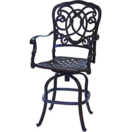 - Darlee Florence Cast Aluminum Patio Counter Height Swivel Bar Stool - Antique Bronze