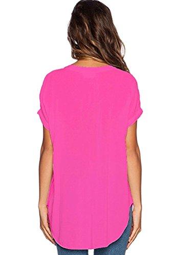 Tops Manche de Hauts Soie V T Rose Shirts Courte Chemise Blouse Shirt Uni Elgant Sexy Femmes LAEMILIA Et Casual Mousseline Col dngw1qYdH