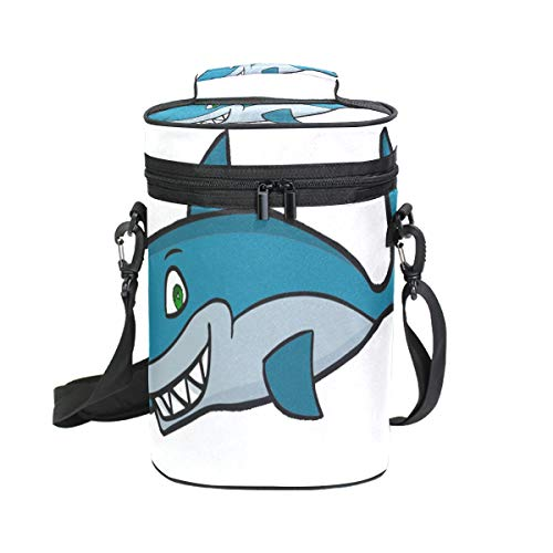 Wine Bag The Blue Shark 2 Red Wine Travel Bag Insulated Wine Tote Carrier Cooler Bags with Handle and Adjustable Shoulder Strap