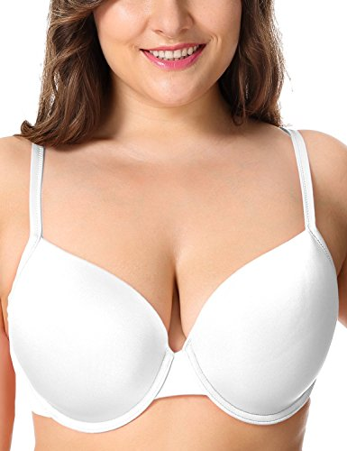 DELIMIRA Women's Smooth Full Coverage Underwire Essential Plus Size T-Shirt Bra White 40G