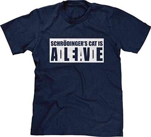 Blittzen Mens T-shirt Schrodinger's Cat Alive Dead, XL, Navy Blue (Cat Schroedingers)