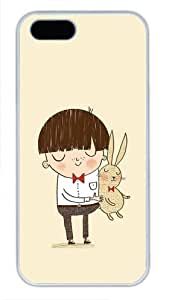 Unique White Plastic iPhone 5 5S Case Covered with Beautiful Image Lovely Boy with Rabbit for Apple iPhone 5 5s-03