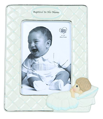 Precious Moments, Baptized In His Name, Bisque Porcelain Photo Frame, Boy, 143401 -