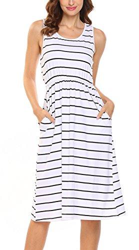 Hount Women's Summer Sleeveless Striped Empire Waist Loose Midi Casual Dress With Pockets (White, (Empire Sleeveless)