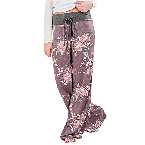 JESFFER Women Summer Floral Print Loose Yoga Wide Leg Trousers (Floral Wide Leg Trouser)