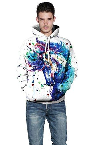 Pull Sweatshirt Patterned Capuche Prints Trackstar Sweats Coloful Hoodie 3d Horse Unisexe À Unisex qRIAa