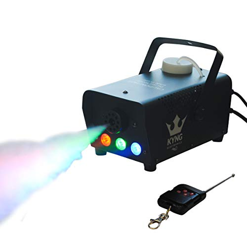 Machine Fog Kit (Fog Smoke Haze Machine 400W + LED Lights + Wired/Wireless Remotes- Portable for DJ, Halloween, Party, Concerts, Weddings, Christmas, Holidays, Mist Maker PREMIUM FOG MACHINE by KYNG ELECTRONICS)