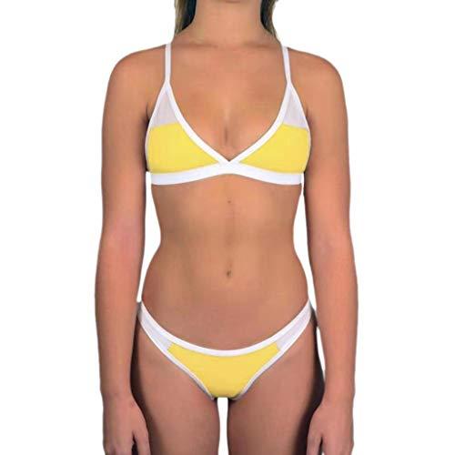 URIBAKE Women Bandeau Sexy Bikini Set Push-Up Brazilian Swimwear Beach Cover Ups Swimsuit Yellow