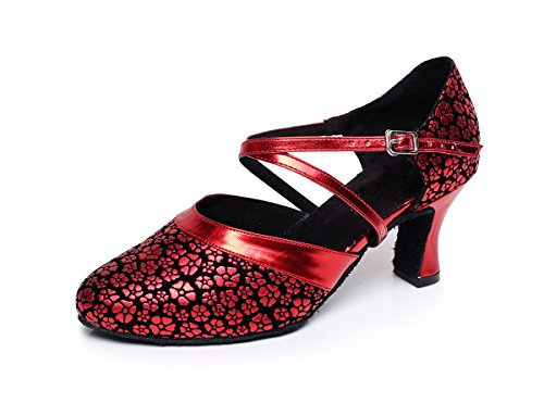MINITOO Latin QJ7044 Shoes Ladies Synthetic 3 Salsa Red UK Tango Dance Floral rrRBpq