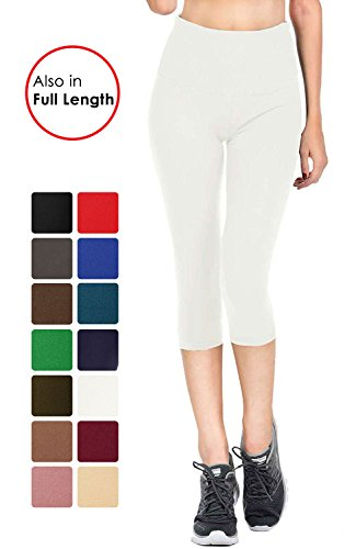 Women White Collection (VIV Collection Signature Capri Leggings Soft and Strong Tension (S, White))