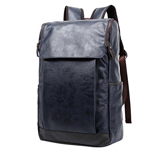 Soft PU Leather Travel bag Laptop Backpack School Rucksack(Blue) - 7