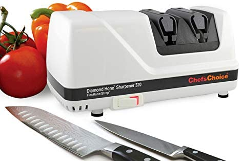 Chef sChoice 320 Diamond Hone FlexHone Strop Professional Compact Electric Knife Sharpener with Diamond Abrasives and Precision Angle Control, 2-Stage, White