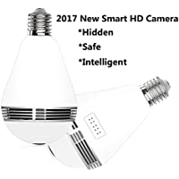 2017 New Smart Wireless WIFI Mobile Phone Surveillance Infrared 960P HD Camera Light Bulb 360 Degree Panoramic 3D Camera and Intercom Light Bulb Home Security System (IR Night Vision)