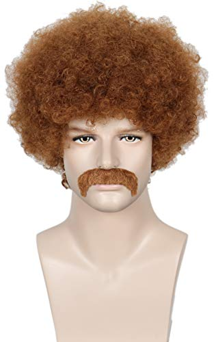 Linfairy Short 80's Costumes Men's Disco Dirt Bag Wig & Moustache Halloween Cosplay Costume Curly ()
