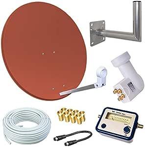Antena parabólica satélite HD de 80 cm, espejo, Opticum Quad LNB para 4 usuarios, 50 m de cable, soporte de pared de 40 cm, SAT Finder, 3 colores ...