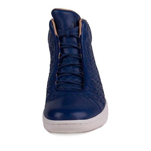 Nike Air Jordan Gloss Mannen Hi Top Sneakers 689.480 Schoenen Van Diepe Koninklijke Blauwe Zeil Vanchetta Bruinen 410