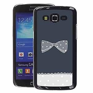 A-type Arte & diseño plástico duro Fundas Cover Cubre Hard Case Cover para Samsung Galaxy Grand 2 (Bow Bowtie Grey Crocheted Polka Dot)