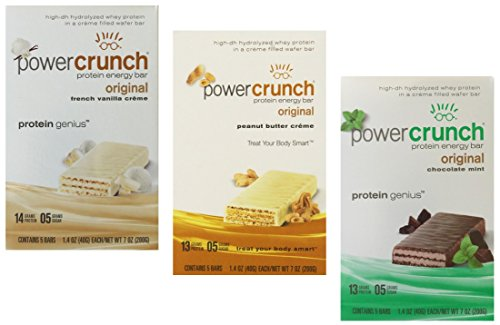 Power Crunch Protein Energy Bar Variety Pack, 15 bars - 1.4oz (40g) bars, 3 flavors